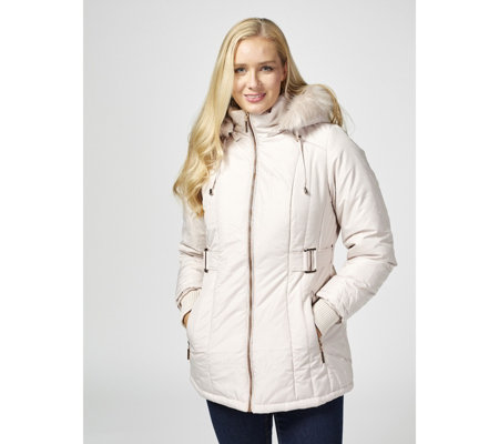 D.E.T.A.I.L.S Polyfill Zip Through Quilted Coat with Detachable Hood