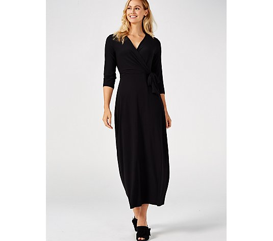 3/4 Sleeve Faux Wrap Over Tie Side Petite Maxi Dress by Nina Leonard