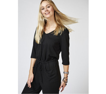 Kim & Co Soft Touch 3/4 Sleeve Drawstring Jumpsuit