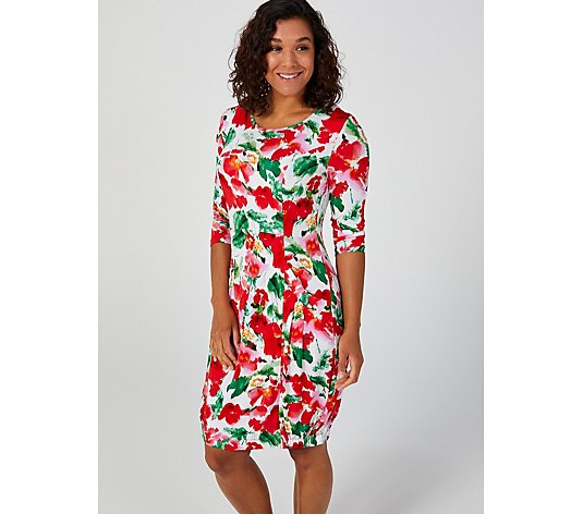 Printed 3/4 Sleeve  Elasticated Hem Dress by Nina Leonard