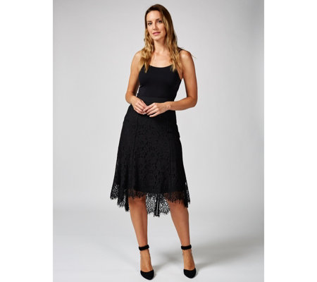 Isaac Mizrahi Live Lace Midi Skirt with Elasticated Waist