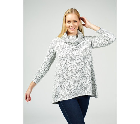 Dennis by Dennis Basso Jacquard Knit Cowl-Neck Top