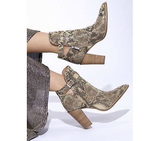 Bronx Snake Effect Buckle Boot