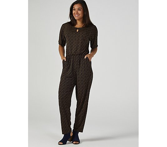 Kim & Co Brazil Jersey Elbow Sleeve Keyhole Jumpsuit