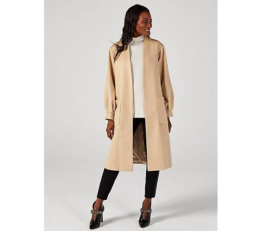 Helene Berman Edge To Edge Collarless Long Coat Balloon Sleeve