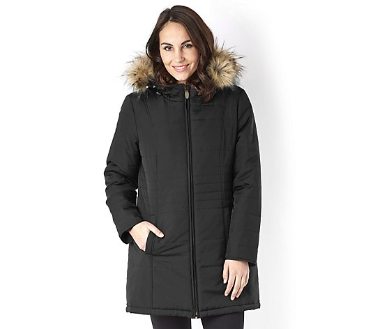 Centigrade Faux Down Hooded Coat with Zip Out Faux Fur Lining