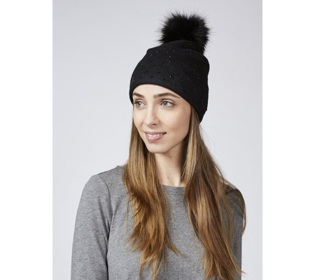 Frank Usher Crystal Embellished Hat with Removable Faux Fur Pom Pom