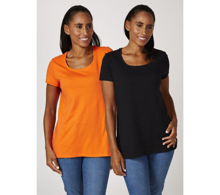 Isaac Mizrahi Live Pack of 2 Short Sleeve Rounded Hem Tops