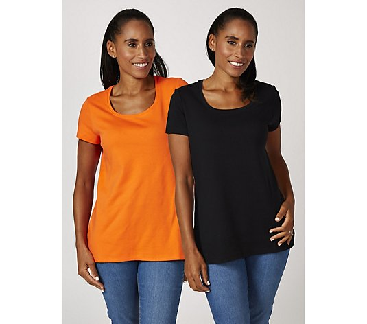 Isaac Mizrahi Live Essentials 2 Pack Short Sleeve Rounded Hem Tops