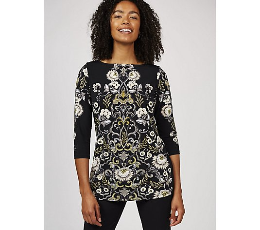 Printed Liquid Knit Bateau Neck Top by Susan Graver