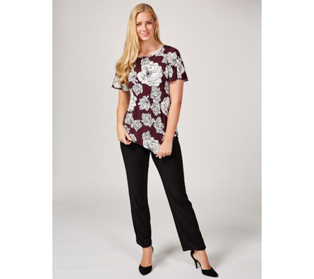 Coco Bianco Printed Short Sleeve Top with Asymmetric Hem