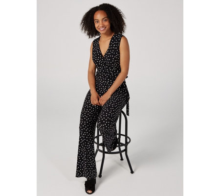 Sleeveless V Neck Side Tie Wide Leg Jumpsuit by Nina Leonard