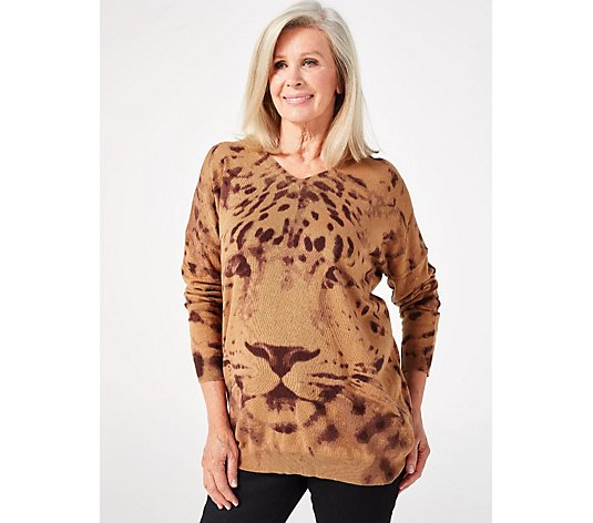 Long Sleeve V Neck Leopard Sweater Tunic by Nina Leonard