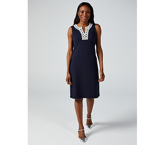 Ronni Nicole Neck Trim Sleeveless Dress