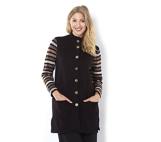 Outlet Bob Mackie Striped Sleeve Multi Colour Sweater Jacket