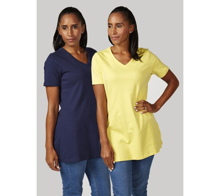 Isaac Mizrahi Live Pack of 2 Wide V Neck Tunics with Side Slits