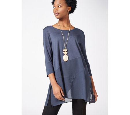 WynneLayers Scoop Neck Mixed Media 3/4 Sleeve Top