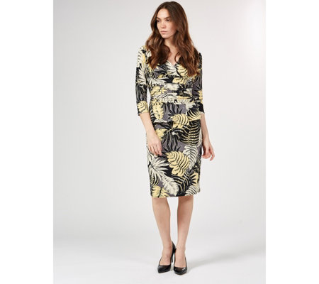 Kiki Leaf Print 3/4 Sleeve Printed Dress by Onjenu London