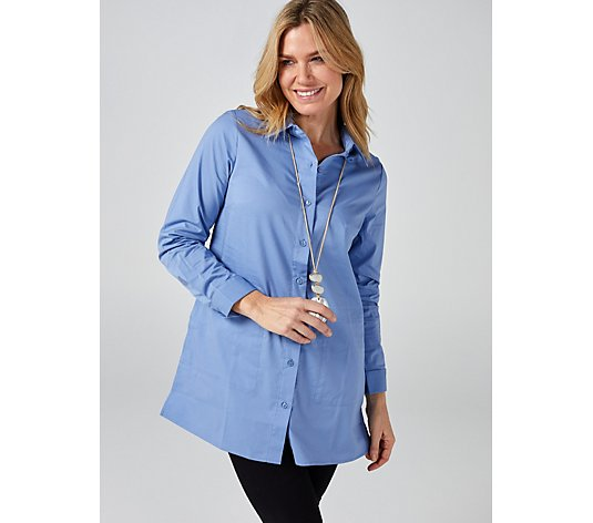 Denim & Co. Stretch Poplin Duster Shirt