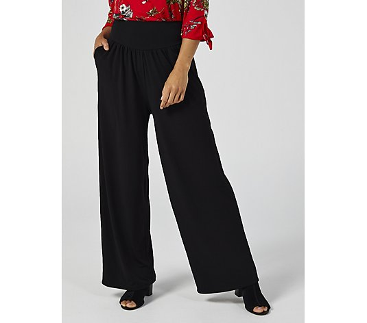 Kim & Co Brazil Jersey Riviera Wide Leg Petite Trousers with Pockets