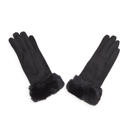 Frank Usher Faux Fur Trim Super Soft Stretch Gloves