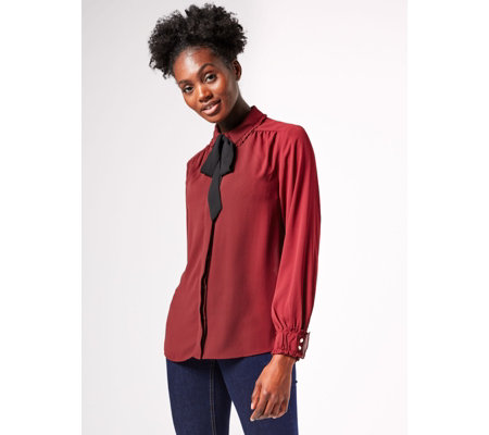 Dennis by Dennis Basso Woven Tie-Neck Blouse with Ruched Cuff