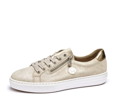 Rieker Gold Metallic Side Zip Lace Up Trainer