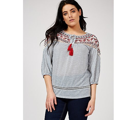 Absolutely Famous Embroidered Yoke Peasant Top