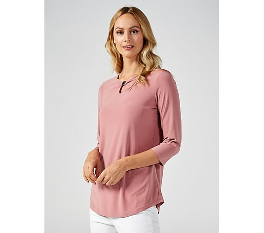 Mr Max 3/4 Sleeve Top with Metal Trim Keyhole Neck Detail