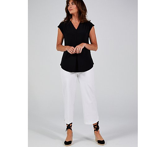 Pleat Front Curved Hem V Neck Top by Nina Leonard
