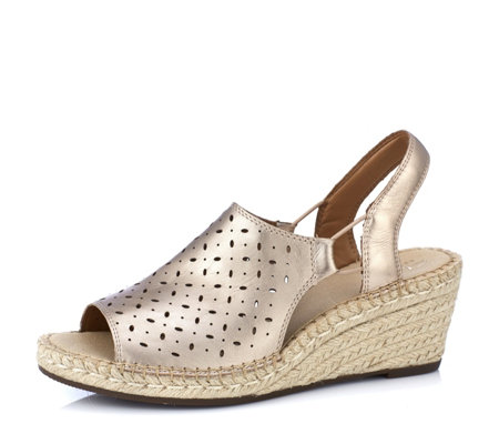 Clarks Artisan Petrina Gail Leather Espadrille Wedge Sandal Wide Fit