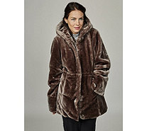 Dennis Basso Faux Fur Hooded Coat with Print Lining & Drawstring Waist - 166095