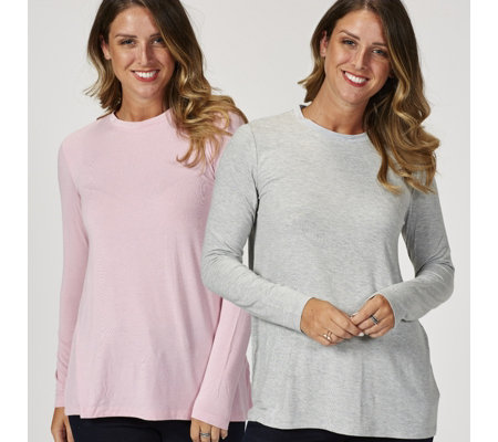 H by Halston Essentials Long Sleeve Crew Neck Tops 2 Pack