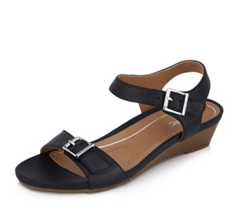 5c60e733e5d Vionic Orthotic Port Frances Leather Strappy Wedge Sandal w  FMT Technology  - 170095