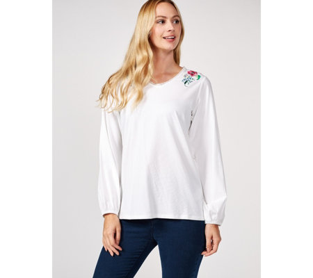 Weekend Embroidered Top by Susan Graver