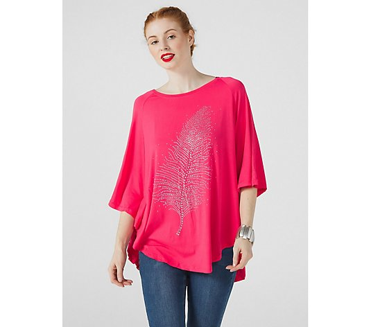Frank Usher Feather Sparkle Poncho Style Top