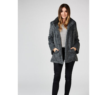 Centigrade Textured Faux Fur A-Line Jacket