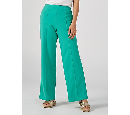 Ben de Lisi Crepe Palazzo Trousers with Pin Tuck Petite