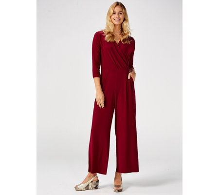 3/4 Sleeve Palazzo Leg Jumpsuit with Pockets by Nina Leonard