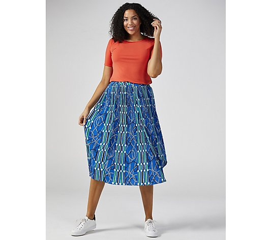 Du Jour Pleated Print Mixed Skirt