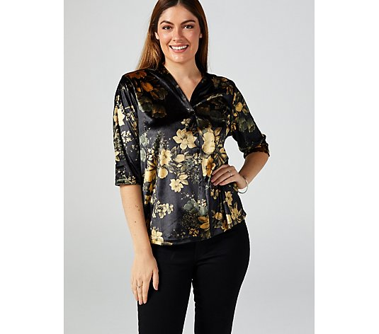 Butler & Wilson V-Neck Flowers Print Top