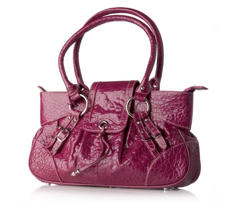 Charlie Lapson Leather Faux Ostrich Embossed Shoulder Bag