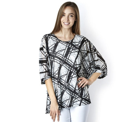 Mr Max Textured Jacquard Two in One Dolman Sleeve Top