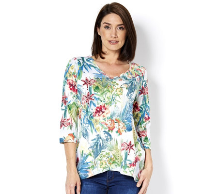 Artscapes Hawaiian Floral Print 3/4 Sleeve Top with Tulip Hem Detail