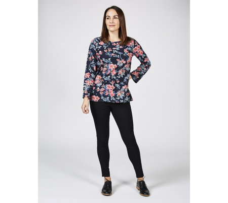 Artscapes Printed Fluted Sleeve Top