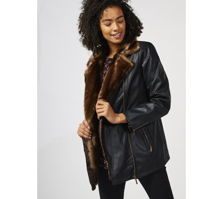 Dennis by Dennis Basso Faux Leather Moto Jacket with Faux Fur Trim