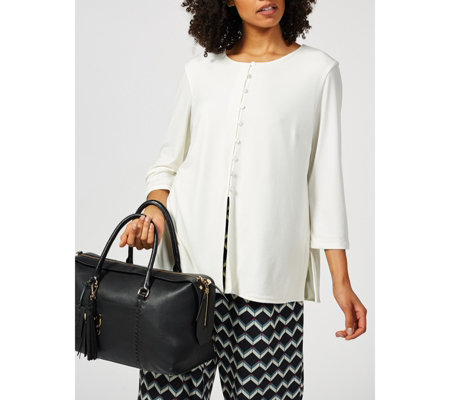 Ben de Lisi Sanded Jersey Kimono Top with Button Detail