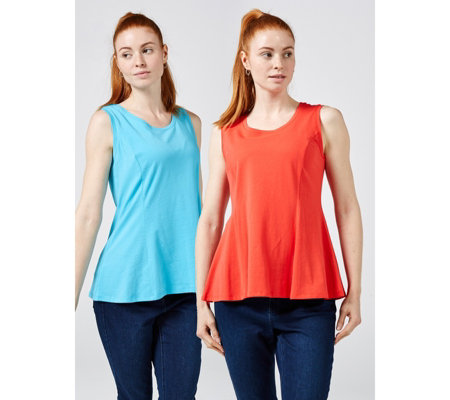 Isaac Mizrahi Live 2 Pack Round Neck Sleeveless Seamed Top