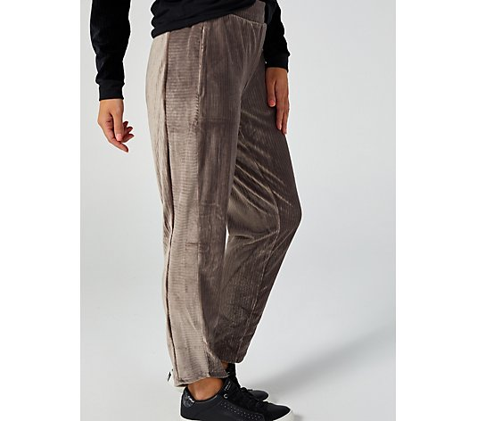 ModernSoul Ribbed Velour Pants w/Side Panel