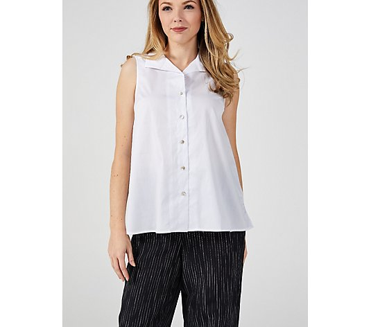 MarlaWynne Sleeveless Stretch Poplin Shirt with Side Slits